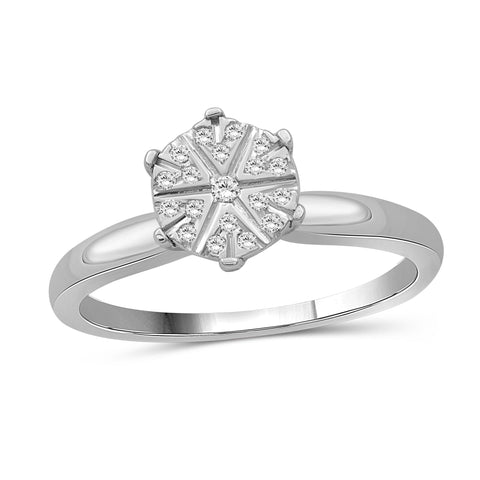 JewelersClub 1/10 Carat T.W. White Diamond Sterling Silver Flower Ring - Assorted Colors