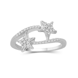 JewelonFire 1/4 Carat T.W. White Diamond Sterling Silver Star Ring - Assorted Colors