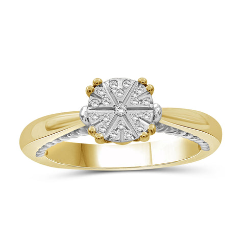 JewelonFire 1/10 Carat T.W. White Diamond Two Tone Silver Flower Ring
