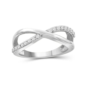 JewelonFire 1/4 Carat T.W. White Diamond Sterling Silver Infinity Ring - Assorted Colors