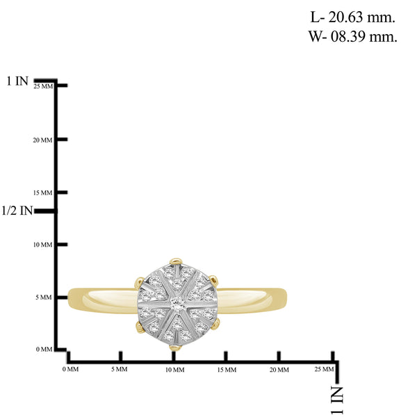 JewelonFire 1/10 Carat T.W. White Diamond Sterling Silver Flower Ring - Assorted Colors