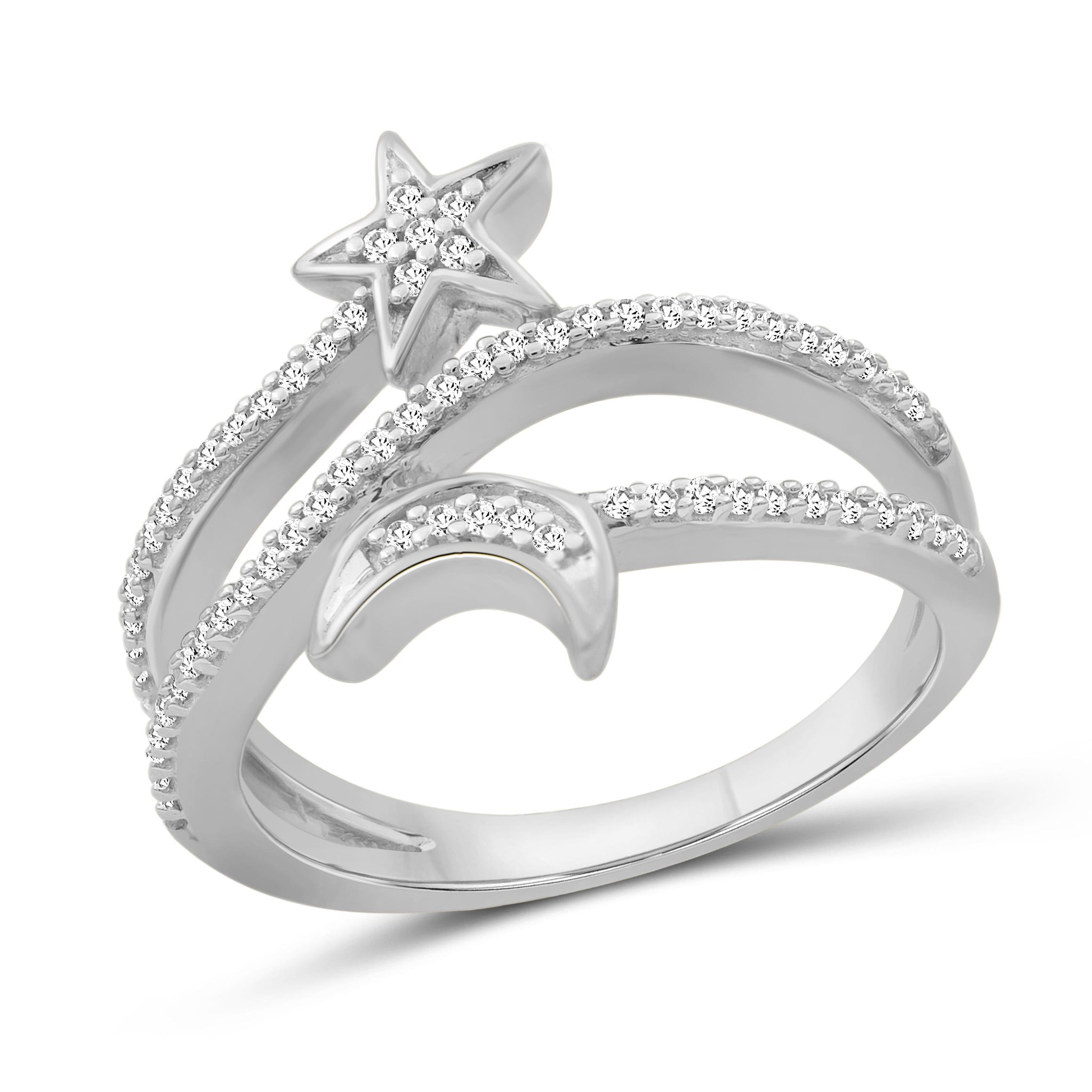 JewelonFire 1/4 Carat T.W. White Diamond Sterling Silver Star & Moon Ring - Assorted Colors