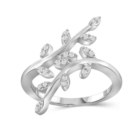 JewelonFire 1/4 Carat T.W. White Diamond Sterling Silver Leaf Ring - Assorted Colors