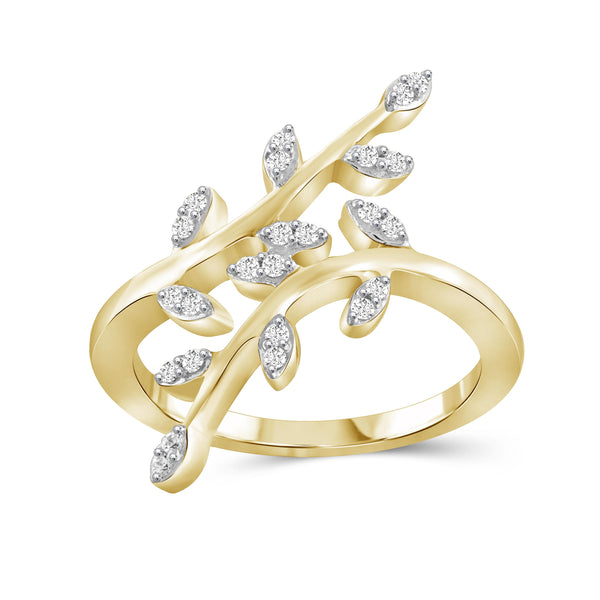 JewelersClub 1/4 Carat T.W. White Diamond Sterling Silver Leaf Ring - Assorted Colors