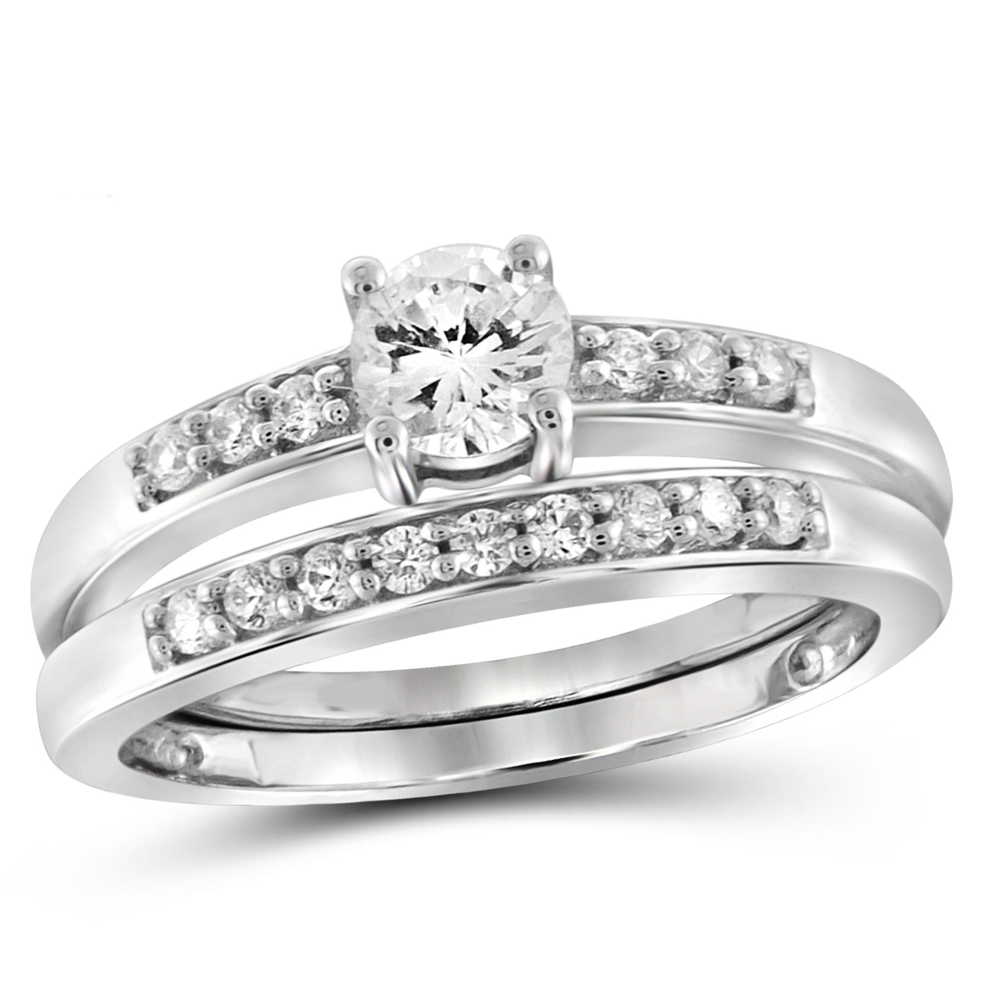 White Cubic Zirconia (AAA) Sterling Silver Bridal Set