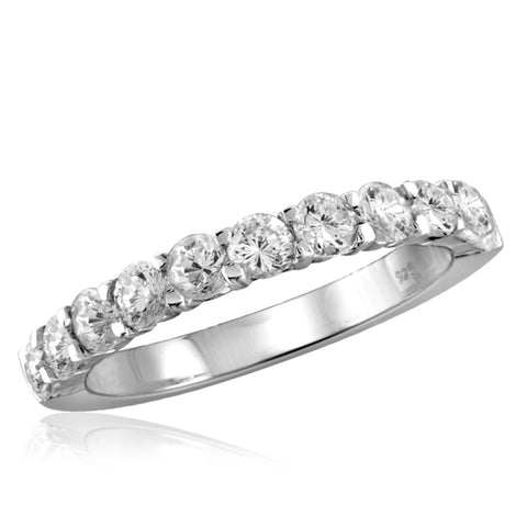 White Cubic Zirconia (AAA) Sterling Silver Band