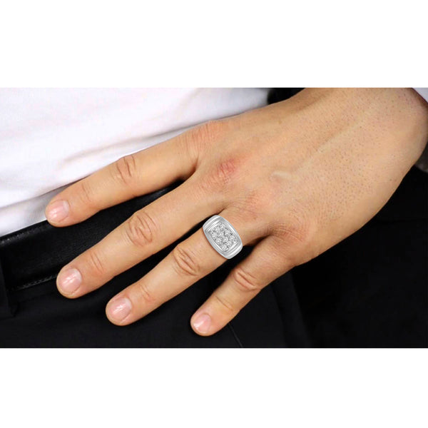 White Cubic Zirconia (AAA) Sterling Silver Men's Ring