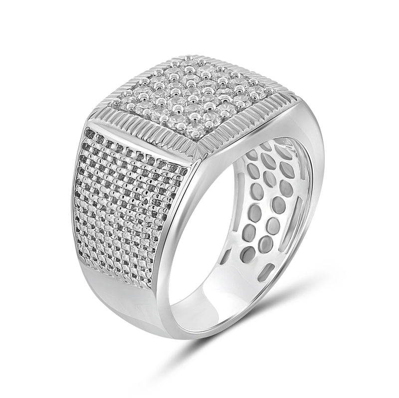 Diamonice White Cubic Zirconia (AAA) Sterling Silver Men's Ring