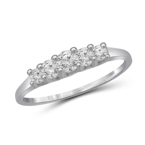 White Cubic Zirconia (AAA) Sterling Silver 5 Stone Ring