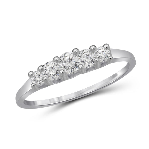 Diamonice White Cubic Zirconia (AAA) Sterling Silver 5 Stone Ring