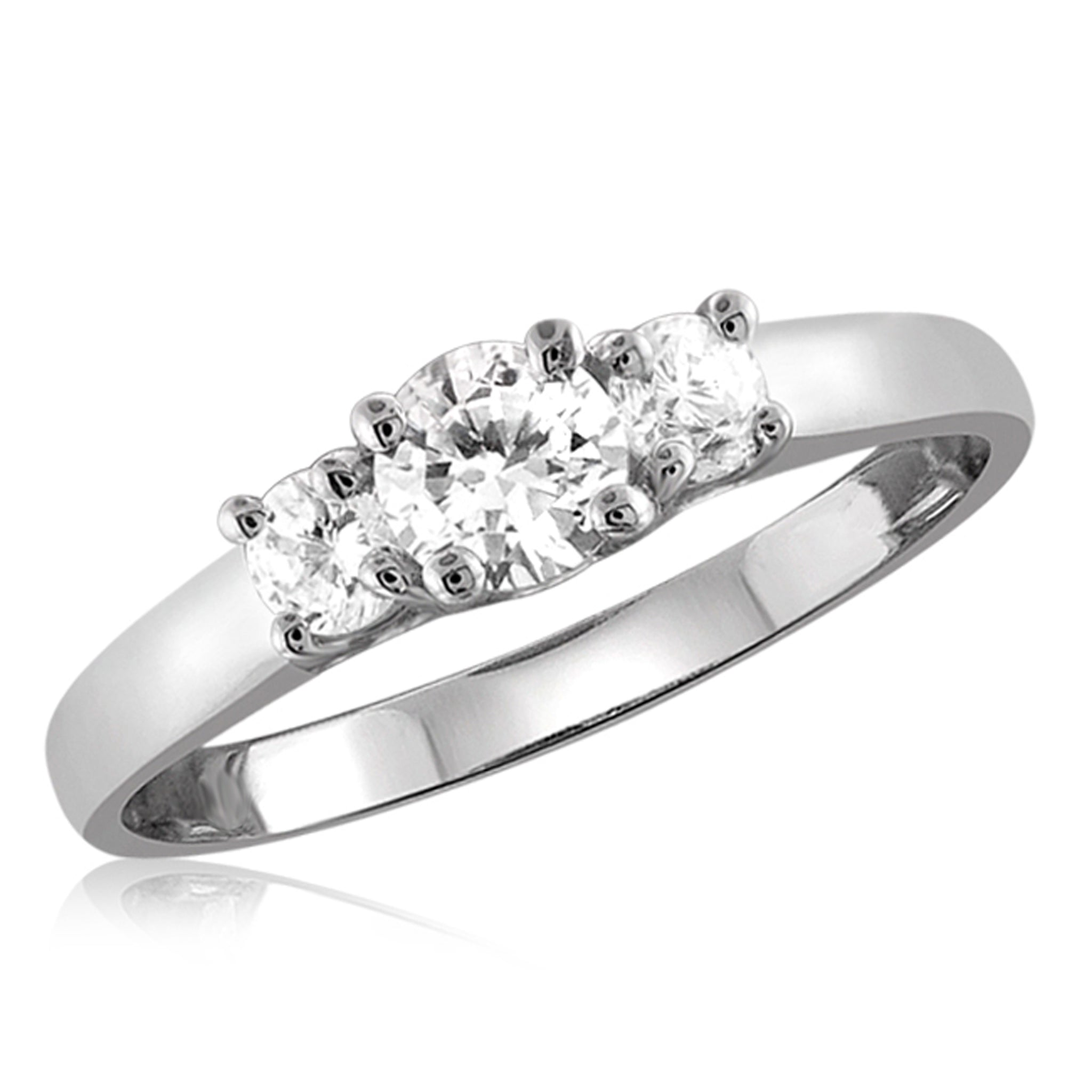White Cubic Zirconia (AAA) Sterling Silver 3 Stone Ring