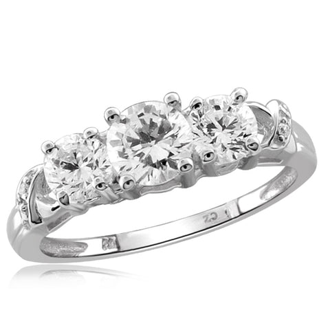 White Cubic Zirconia (AAA) Sterling Silver Anniversary Band