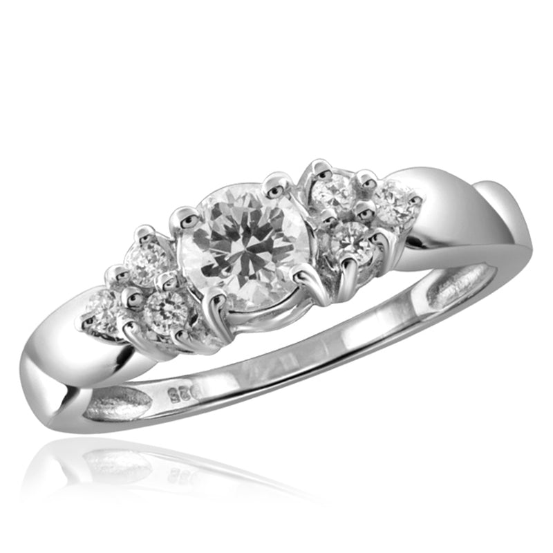 Diamonice White Cubic Zirconia (AAA) Sterling Silver Ring