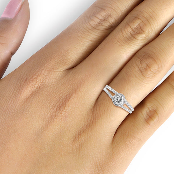White Cubic Zirconia (AAA) Sterling Silver Spilt Shank Ring