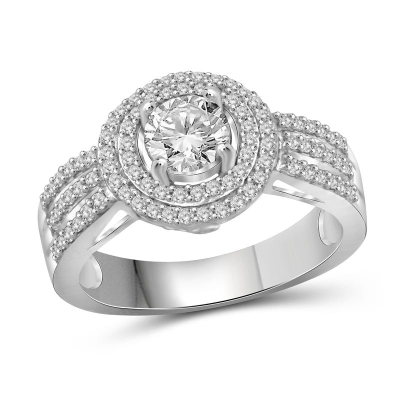 JewelersClub 1/7 Carat T.W. White Diamond Trio Engagement Ring Set in Sterling Silver - Assorted Colors