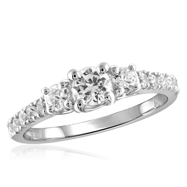Diamonice White Cubic Zirconia (AAA) Sterling Silver 3 Stone Ring