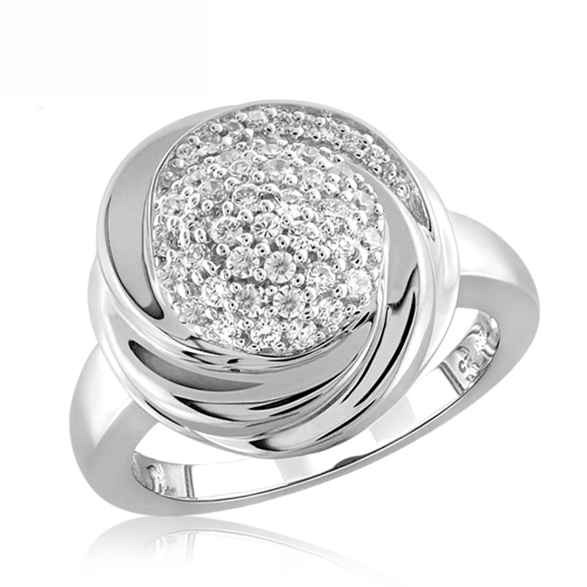 White Cubic Zirconia (AAA) Sterling Silver Flower Ring