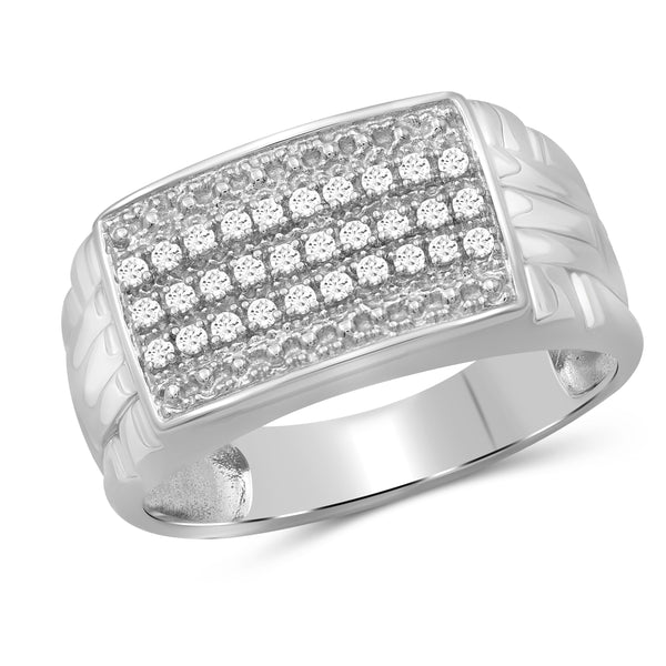Jewelnova 1/5 Carat T.W. White Diamond 10k White Gold Men's Ring