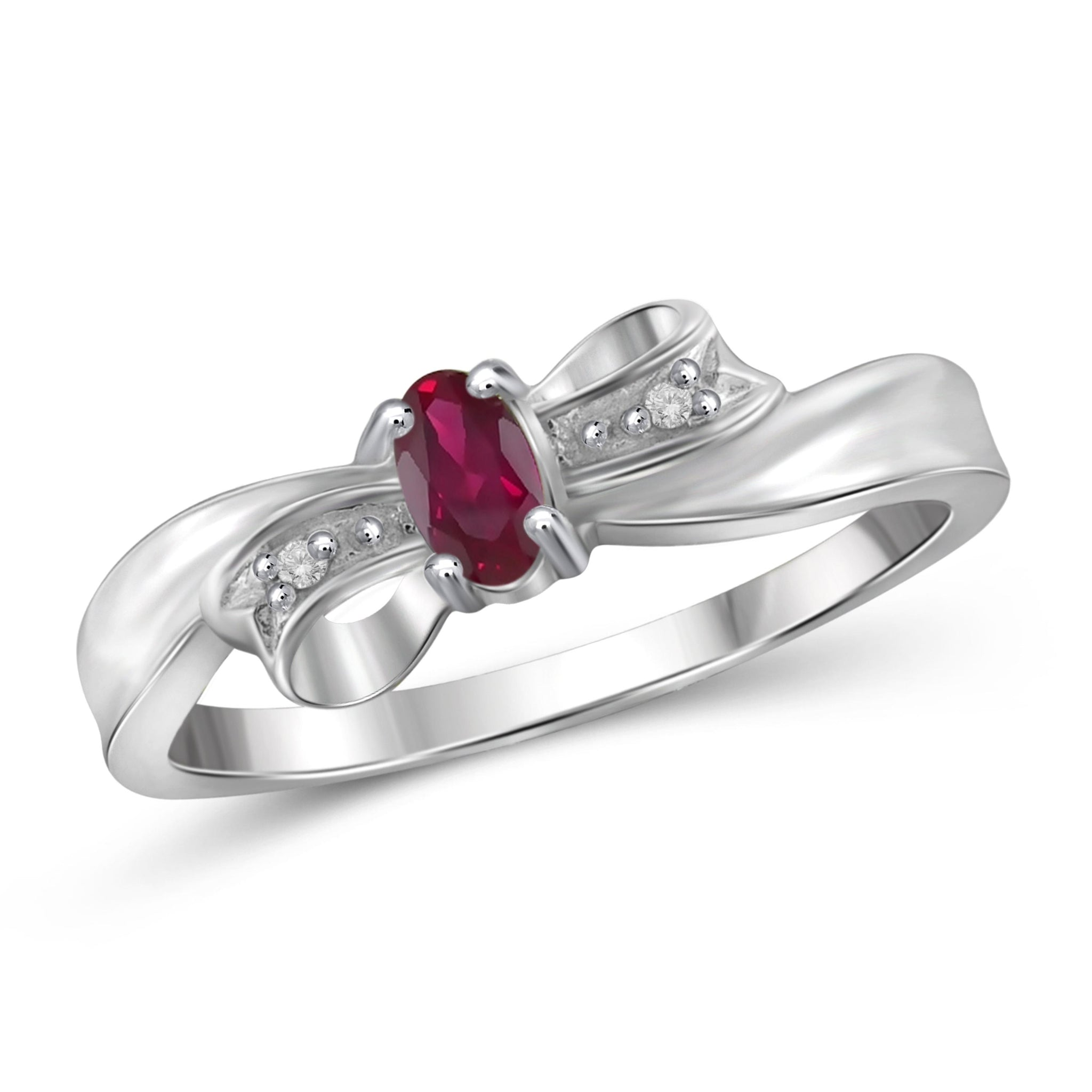 JewelonFire 0.15 Carat T.G.W Ruby and White Diamond Accent Sterling Silver Ring - Assorted Colors