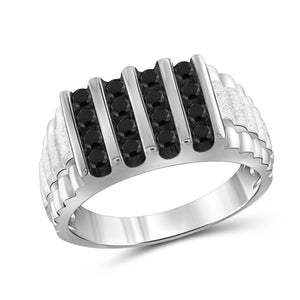 JewelersClub 1 Carat T.W. Black Diamond Sterling Silver Textured Men's Ring