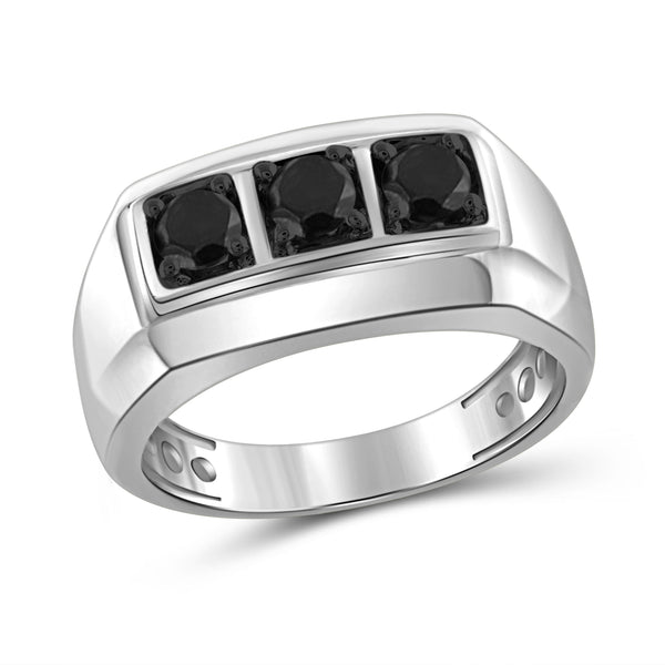 JewelonFire 1 Carat T.W. Black Diamond Sterling Silver Three Stone Men's Ring