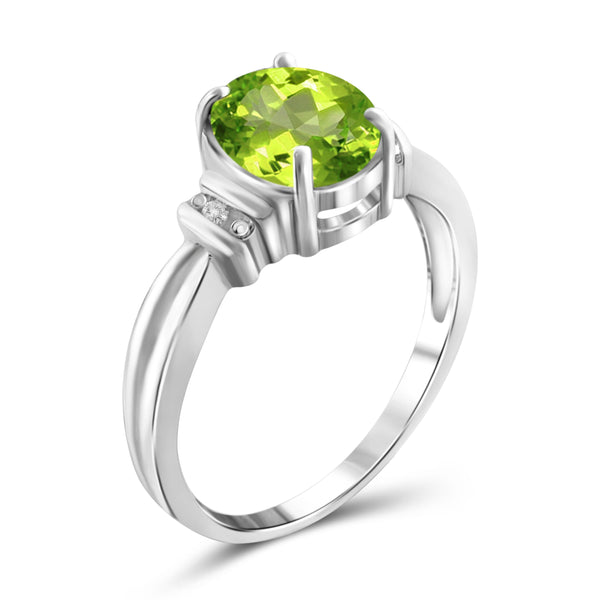 JewelonFire 2.00 Carat T.G.W. Peridot And White Diamond Accent Sterling Silver Ring