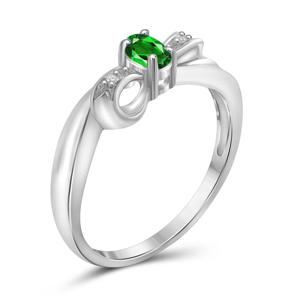 JewelonFire 0.15 Carat T.G.W. Chrome Diopside and White Diamond Accent Sterling Silver Ring - Assorted Colors