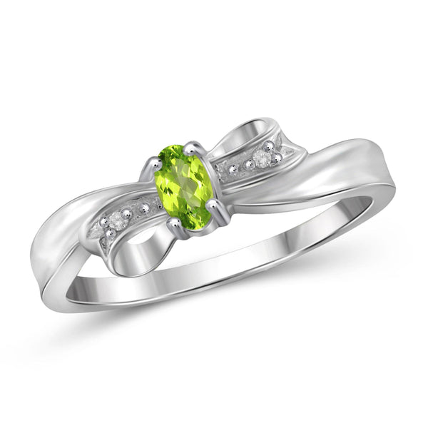 JewelonFire 1/5 Carat T.G.W. Peridot And White Diamond Accent Sterling Silver Ring - Assorted Colors