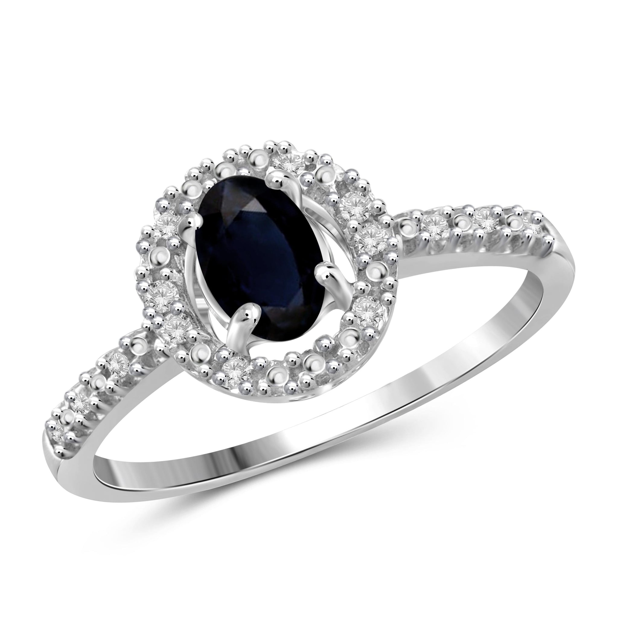 JewelonFire 0.60 Carat T.G.W. Sapphire and 1/20 ctw White Diamond Sterling Silver Ring - Assorted Colors
