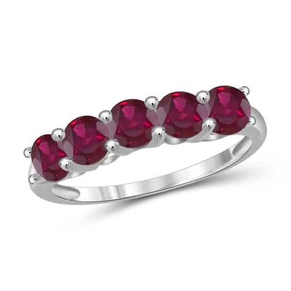 JewelonFire 1 1/2 Carat T.G.W. Ruby Sterling Silver Band- Assorted Colors