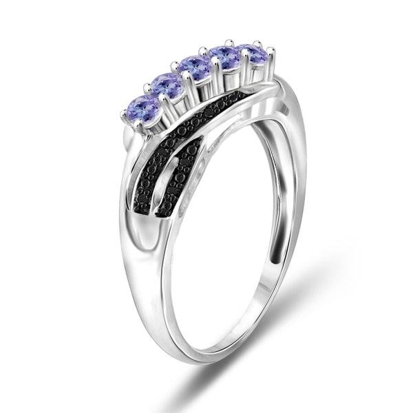 JewelonFire 1/3 Carat T.G.W. Tanzanite and Black Diamond Accent Sterling Silver Band- Assorted Colors