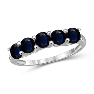 JewelonFire 2 Carat T.G.W. Sapphire Sterling Silver Band- Assorted Colors