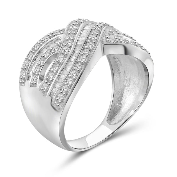 JewelersClub 1 Carat T.W. White Diamond Sterling Silver Infinity Cross Over Ring