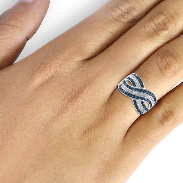 JewelonFire 1 Carat T.W. Blue And White Diamond Sterling Silver Crossover Ring
