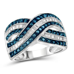 JewelersClub 1 Carat T.W. Blue And White Diamond Sterling Silver Crossover Ring