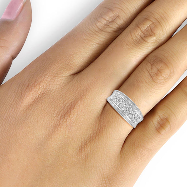 JewelonFire 1 Carat T.W. White Diamond Sterling Silver Anniversary Band Ring