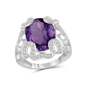 JewelonFire 8 1/3 Carat T.G.W. Amethyst And White Diamond Accent Sterling Silver Ring - Assorted Colors