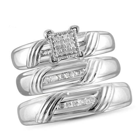 JewelonFire 1/5 Carat T.W. White Diamond Trio Engagement Ring Set in Sterling Silver - Assorted Colors