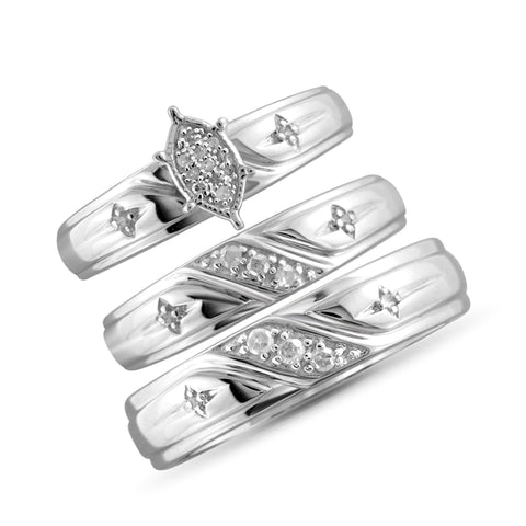 JewelonFire 1/7 Carat T.W. White Diamond Trio Engagement Ring Set in Sterling Silver - Assorted Colors