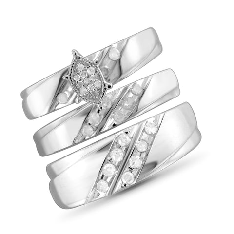 JewelonFire 1/2 Carat T.W. White Diamond Trio Engagement Ring Set in Sterling Silver - Assorted Colors