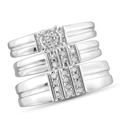 JewelonFire 1/4 Carat T.W. White Diamond Trio Engagement Ring Set in Sterling Silver - Assorted Colors