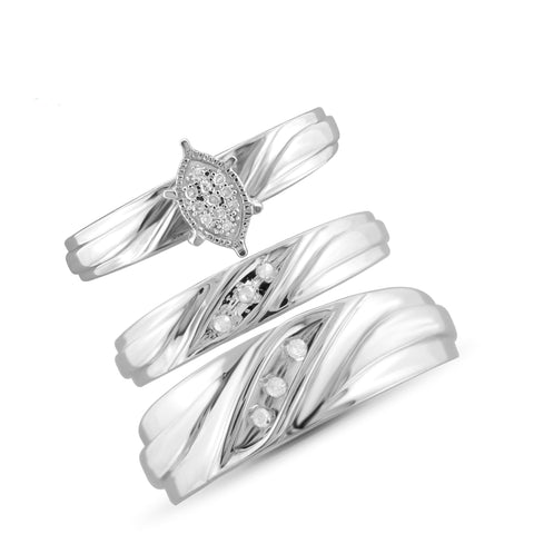 JewelonFire 1/10 Carat T.W. White Diamond Trio Engagement Ring Set in Sterling Silver - Assorted Colors