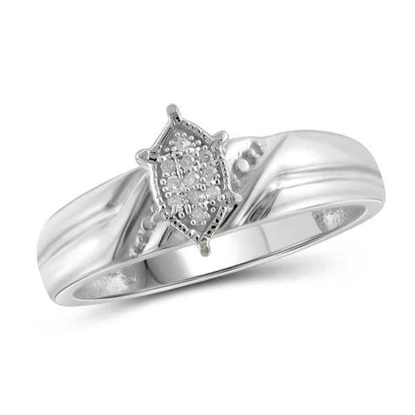 JewelersClub 1/10 Carat T.W. White Diamond Trio Engagement Ring Set in Sterling Silver - Assorted Colors