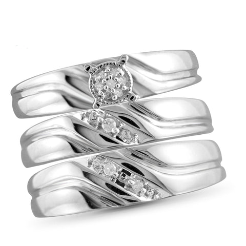 JewelonFire 1/20 Carat T.W. White Diamond Trio Engagement Ring Set in Sterling Silver - Assorted Colors