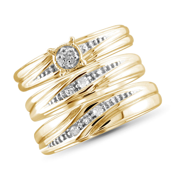 JewelersClub 1/20 Carat T.W. White Diamond Trio Engagement Ring Set in Sterling Silver - Assorted Colors
