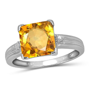 JewelonFire 2.00 Carat T.G.W. Citrine And White Diamond Accent Sterling Silver Ring