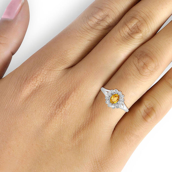 JewelonFire 1/4 Carat T.G.W. Citrine And 1/20 Carat T.W. White Diamond Sterling Silver Ring - Assorted Colors