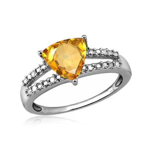 JewelonFire 1 1/3 Carat T.G.W. Citrine And White Diamond Accent Sterling Silver Ring