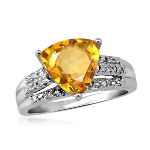 JewelonFire 2 3/4 Carat T.G.W. Citrine And 1/7 Carat T.W. White Diamond Sterling Silver Ring