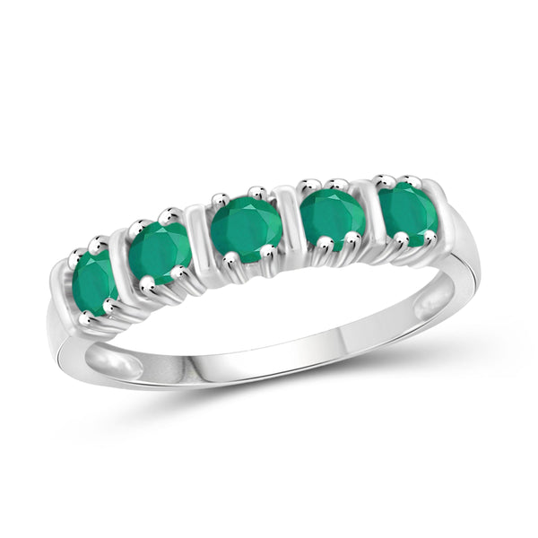 JewelonFire 1/2 Carat T.G.W. Emerald Sterling Silver 5-Stone Ring- Assorted Colors